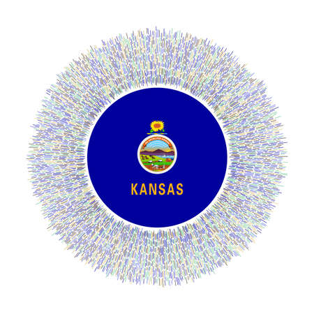 Flag of Kansas with colorful rays. Radiant us state sign. Shiny sunburst with Kansas flag. Cool vector illustration. Çizim