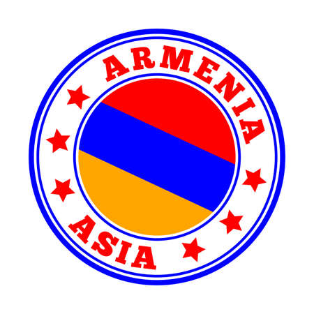 Armenia sign. Round country logo with flag of Armenia. Vector illustration. Illusztráció