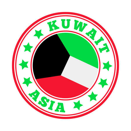 Kuwait sign. Round country logo with flag of Kuwait. Vector illustration.