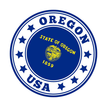 Oregon sign. Round us state logo with flag of Oregon. Vector illustration.