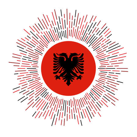 Albania sign. Country flag with colorful rays. Radiant sunburst with Albania flag. Vector illustration.