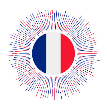 France sign. Country flag with colorful rays. Radiant sunburst with France flag. Vector illustration.