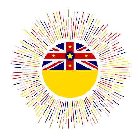 Niue sign. Country flag with colorful rays. Radiant sunburst with Niue flag. Vector illustration. Illusztráció