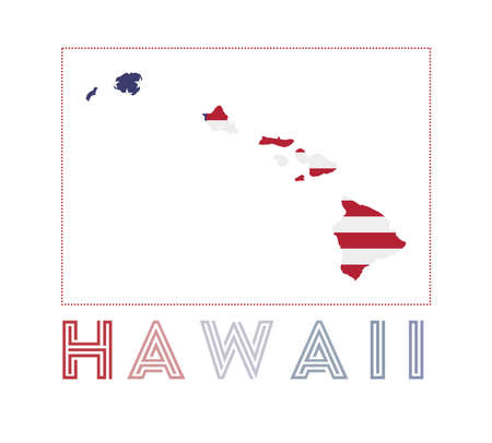 Hawaii Logo. Map of Hawaii with island name and flag. Superb vector illustration. Illusztráció