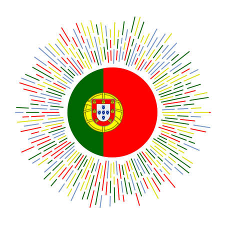 Portugal sign. Country flag with colorful rays. Radiant sunburst with Portugal flag. Vector illustration. Çizim