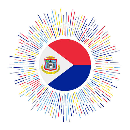 Sint Maarten sign. Country flag with colorful rays. Radiant sunburst with Sint Maarten flag. Vector illustration.