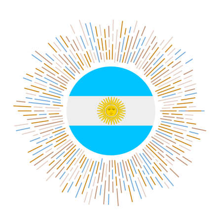 Argentina sign. Country flag with colorful rays. Radiant sunburst with Argentina flag. Vector illustration.