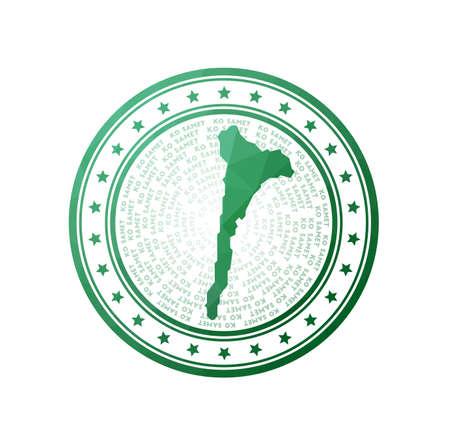 Flat low poly stamp of Ko Samet. Polygonal Ko Samet badge. Trendy vector logo of the island.  イラスト・ベクター素材