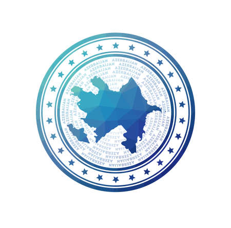 Flat low poly stamp of Azerbaijan. Polygonal Azerbaijan badge. Trendy vector logo of the country.