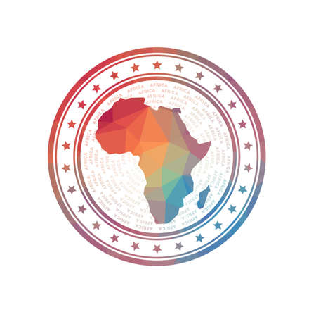 Flat low poly stamp of Africa. Polygonal Africa badge. Trendy vector logo of the continent.