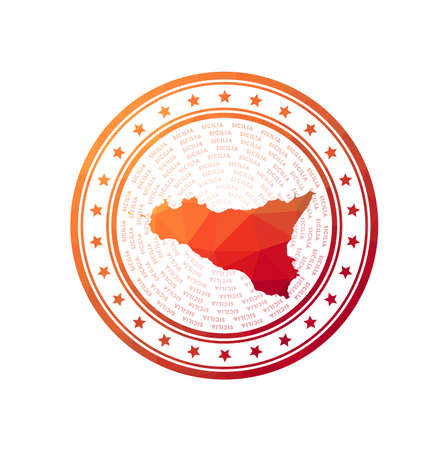 Flat low poly stamp of Sicilia. Polygonal Sicilia badge. Trendy vector logo of the island.