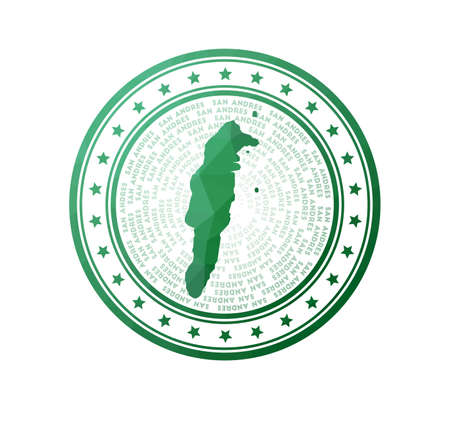 Flat low poly stamp of San Andres. Polygonal San Andres badge. Trendy vector logo of the island.