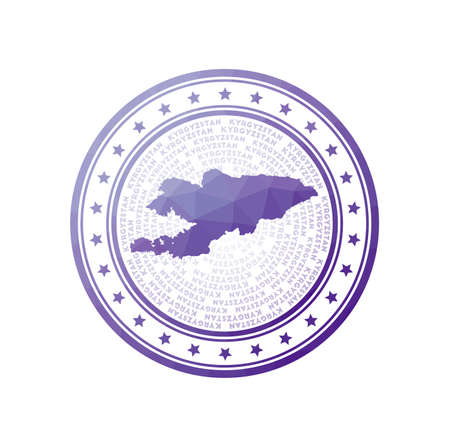 Flat low poly stamp of Kyrgyzstan. Polygonal Kyrgyzstan badge. Trendy vector logo of the country.