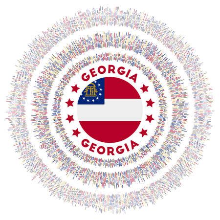 Georgia symbol. Radiant us state flag with colorful rays. Shiny sunburst with Georgia flag. Amazing vector illustration.