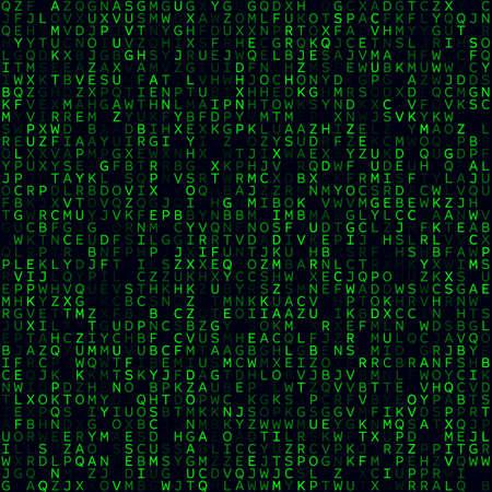 Technology Background. Green filled alphabetical background. Medium sized seamless pattern. Elegant vector illustration.