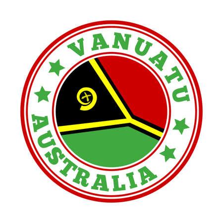 Vanuatu sign. Round country logo with flag of Vanuatu. Vector illustration. Logó