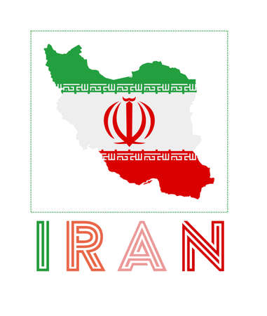Iran Logo. Map of Iran with country name and flag. Captivating vector illustration. Illusztráció