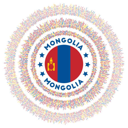 Mongolia symbol. Radiant country flag with colorful rays. Shiny sunburst with Mongolia flag. Cool vector illustration.