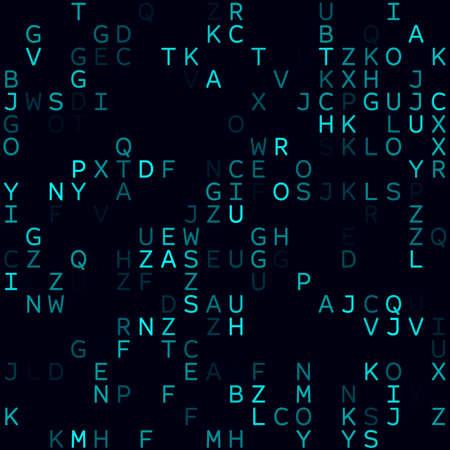 Digital background. Cyan sparse alphabetical background. Small sized seamless pattern. Stylish vector illustration. Ilustração