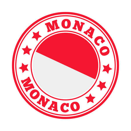 Monaco sign. Round country logo with flag of Monaco. Vector illustration.