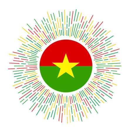 Burkina Faso sign. Country flag with colorful rays. Radiant sunburst with Burkina Faso flag. Vector illustration. Çizim
