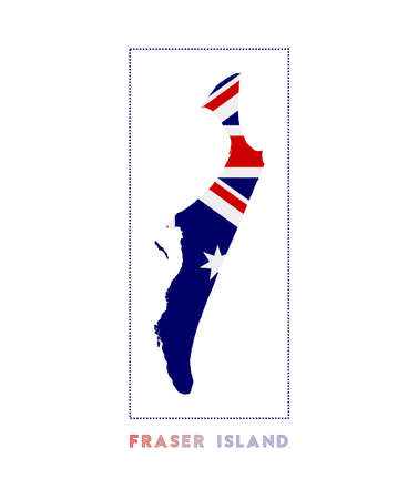 Fraser Island Logo. Map of Fraser Island with island name and flag. Awesome vector illustration. Illusztráció