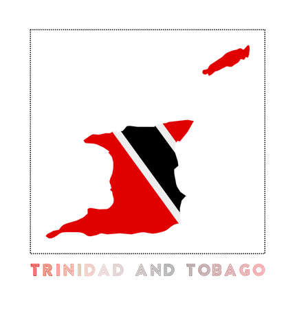Trinidad and Tobago Logo. Map of Trinidad and Tobago with country name and flag. Amazing vector illustration. Illusztráció