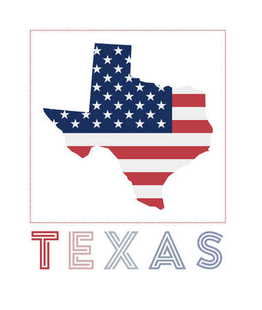 Texas Logo. Map of Texas with us state name and flag. Attractive vector illustration.