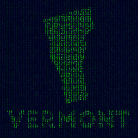 Digital Vermont logo. US state symbol in hacker style. Binary code map of Vermont with US state name. Astonishing vector illustration. Ilustração