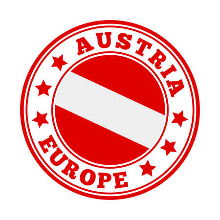 Austria sign. Round country logo with flag of Austria. Vector illustration. Illusztráció
