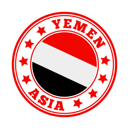 Yemen sign. Round country logo with flag of Yemen. Vector illustration.