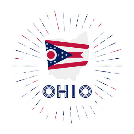 Ohio sunburst badge. The us state sign with map of Ohio with state flag. Colorful rays around the logo. Vector illustration.