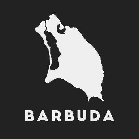 Barbuda icon. Island map on dark background. Stylish Barbuda map with island name. Vector illustration.