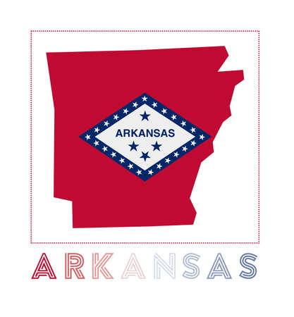 Arkansas Logo. Map of Arkansas with us state name and flag. Creative vector illustration.