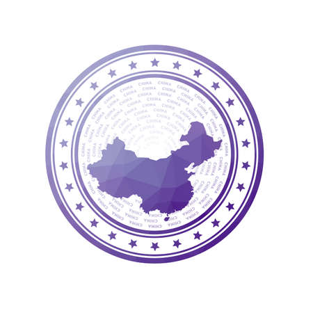 Flat low poly stamp of China. Polygonal China badge. Trendy vector logo of the country.  イラスト・ベクター素材