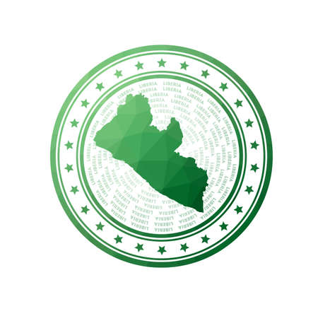 Flat low poly stamp of Liberia. Polygonal Liberia badge. Trendy vector logo of the country.