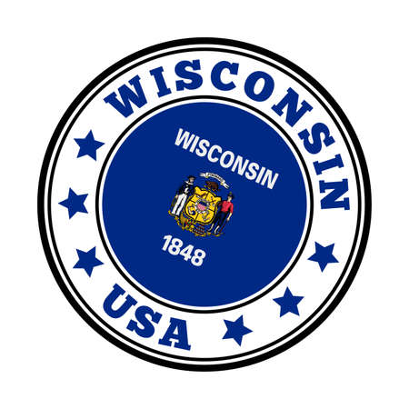 Wisconsin sign. Round us state logo with flag of Wisconsin. Vector illustration.