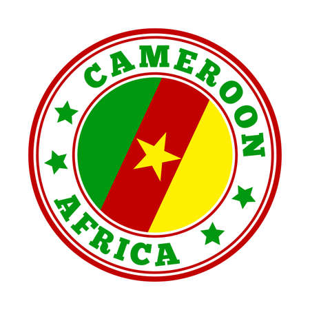 Cameroon sign. Round country logo with flag of Cameroon. Vector illustration. Illusztráció