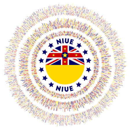 Niue symbol. Radiant country flag with colorful rays. Shiny sunburst with Niue flag. Artistic vector illustration.