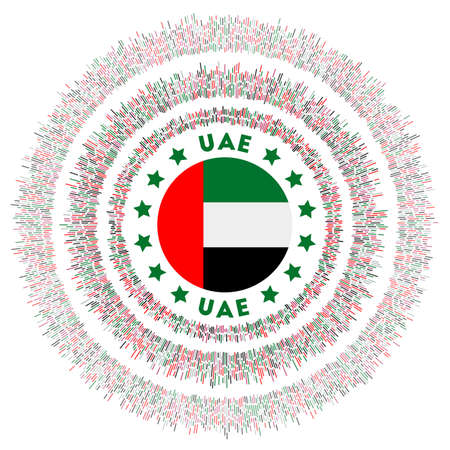 UAE symbol. Radiant country flag with colorful rays. Shiny sunburst with UAE flag. Beautiful vector illustration.