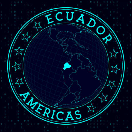 Ecuador round sign. Futuristic satelite view of the world centered to Ecuador. Country badge with map, round text and binary background. Appealing vector illustration.