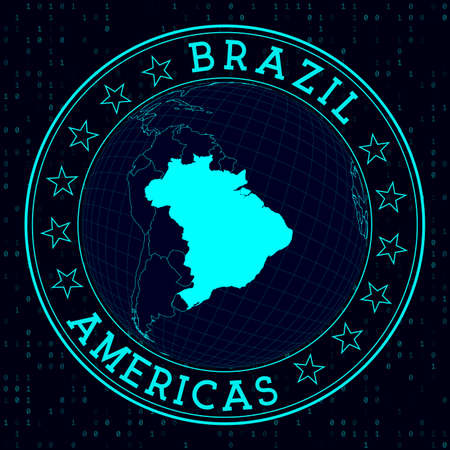 Brazil round sign. Futuristic satelite view of the world centered to Brazil. Country badge with map, round text and binary background. Amazing vector illustration. Illustration