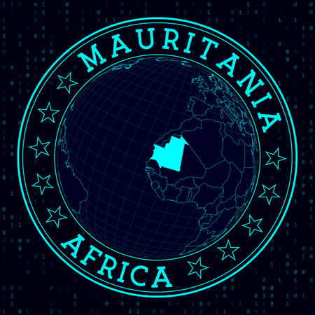 Mauritania round sign. Futuristic satelite view of the world centered to Mauritania. Country badge with map, round text and binary background. Superb vector illustration.