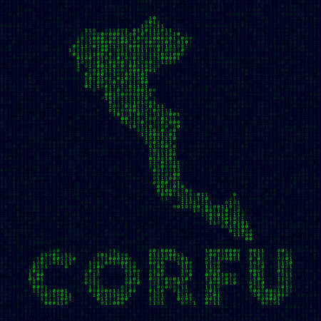 Digital Corfu logo. Island symbol in hacker style. Binary code map of Corfu with island name. Captivating vector illustration. Illustration