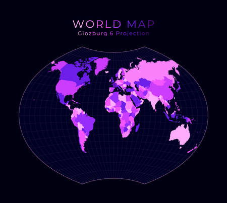World Map. Ginzburg VI projection. Digital world illustration. Bright pink neon colors on dark background. Powerful vector illustration. Stock Illustratie