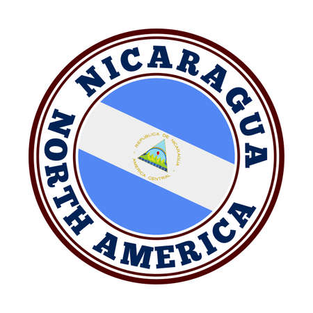 Nicaragua sign. Round country logo with flag of Nicaragua. Vector illustration.