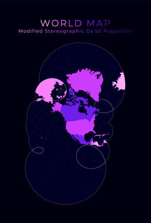 World Map. Modified stereographic projection for the United States including Alaska and Hawaii. Digital world illustration. Bright pink neon colors on dark background. Artistic vector illustration.