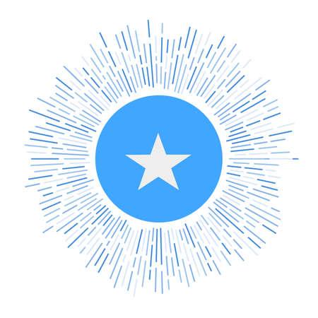 Somalia sign. Country flag with colorful rays. Radiant sunburst with Somalia flag. Vector illustration.