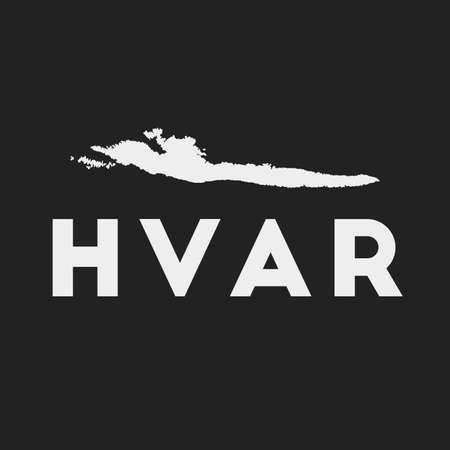 Hvar icon. Island map on dark background. Stylish Hvar map with island name. Vector illustration.