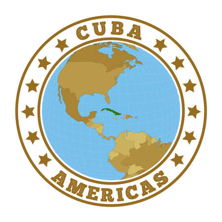Cuba logo. Round badge of country with map of Cuba in world context. Country sticker stamp with globe map and round text. Vector illustration.